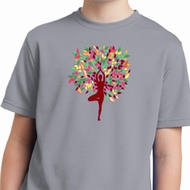 Yoga Foliage Tree Pose Kids Moisture Wicking Shirt