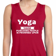 Yoga Funny Saying Ladies Sleeveless Moisture Wicking Shirt
