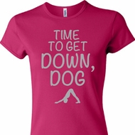 Yoga Get Down Dog Ladies Crewneck Shirt