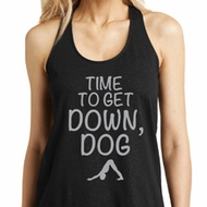 Yoga Get Down Dog Ladies Loop Back Tank Top