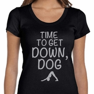 Yoga Get Down Dog Ladies Scoop Neck Shirt