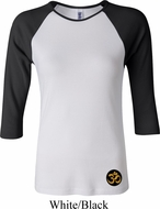 Yoga Gold AUM Patch Bottom Print Ladies Raglan Shirt