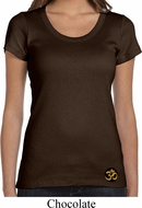Yoga Gold AUM Patch Bottom Print Ladies Scoop Neck Shirt
