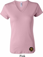 Yoga Gold AUM Patch Bottom Print Ladies V-neck Shirt