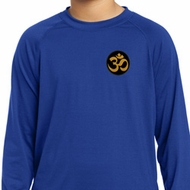 Yoga Gold AUM Patch Pocket Print Kids Dry Wicking Long Sleeve Shirt