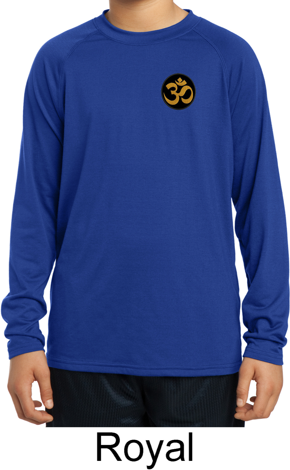 Yoga gold aum patch pocket print kids dry wicking long for Print long sleeve shirt
