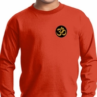 Yoga Gold AUM Patch Pocket Print Kids Long Sleeve Shirt