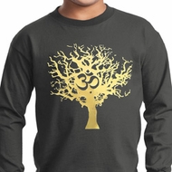 Yoga Gold Foil Tree of Life Kids Long Sleeve Shirt