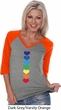 Yoga Heart Chakras Ladies Three Quarter Sleeve V-Neck Shirt