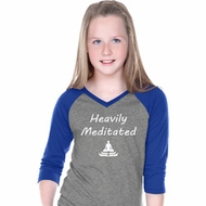 Yoga Heavily Meditated Girls Three Quarter Sleeve V-Neck Shirt