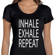 Yoga Inhale Exhale Repeat Ladies Scoop Neck Shirt