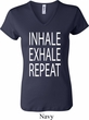 Yoga Inhale Exhale Repeat Ladies V-neck Shirt