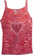 Yoga Ladies Tank - Red Heart Tie Dye Fitted Tanktop
