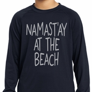 Yoga Namastay at the Beach Kids Dry Wicking Long Sleeve Shirt