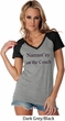 Yoga Namastay Home on the Couch Ladies Contrast V-Neck Shirt