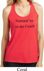 Yoga Namastay Home on the Couch Ladies Coral Loop Back Tank Top