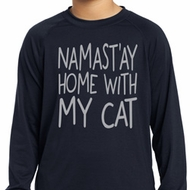 Yoga Namastay Home with My Cat Kids Dry Wicking Long Sleeve Shirt