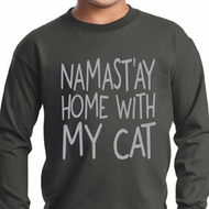 Yoga Namastay Home with My Cat Kids Long Sleeve Shirt