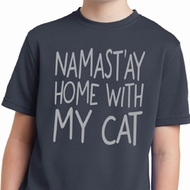 Yoga Namastay Home with My Cat Kids Moisture Wicking Shirt