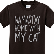 Yoga Namastay Home with My Cat Kids Shirt