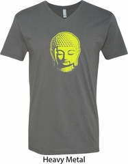 Yoga Neon Yellow Buddha Mens V-Neck Shirt