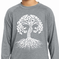 Yoga White Celtic Tree Kids Dry Wicking Long Sleeve Shirt
