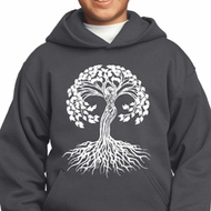 Yoga White Celtic Tree Kids Hoodie