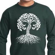 Yoga White Celtic Tree Kids Long Sleeve Shirt