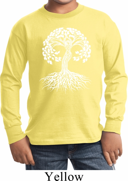 Yoga White Celtic Tree Kids Long Sleeve Shirt White: yoga shirts with sleeves