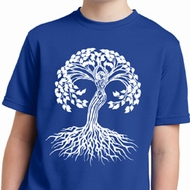 Yoga White Celtic Tree Kids Moisture Wicking Shirt
