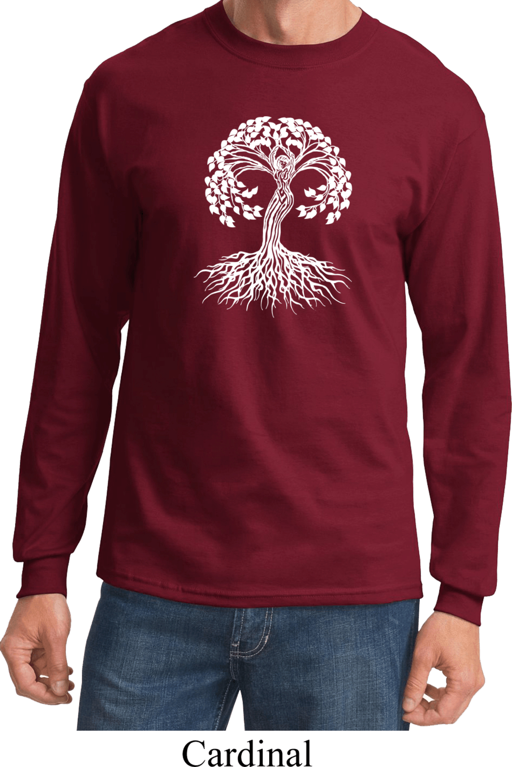 Yoga white celtic tree long sleeve shirt white celtic Yoga shirts with sleeves