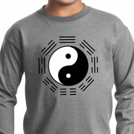 Yoga Ying Yang Trigrams Kids Long Sleeve Shirt