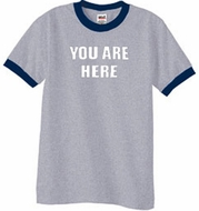 YOU ARE HERE Funny Novelty Adult Ringer T-shirt - Heather Grey/Navy