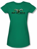 Zombie Juniors T-Shirt Must Eat Brains Kelly Green Tee Shirt