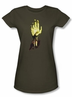 Zombie Juniors T-Shirt Need A Hand Military Green Tee Shirt
