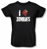 Zombie Ladies T-Shirt I Bloody Heart Zombies Black Tee Shirt