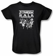 Zombie Ladies T-Shirt Walk Black Tee Shirt