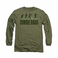 Zombie Shirt Road Long Sleeve Military Green Tee T-Shirt