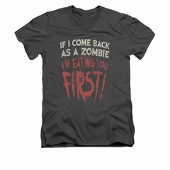 Zombie Shirt Slim Fit V Neck You First Charcoal Tee T-Shirt