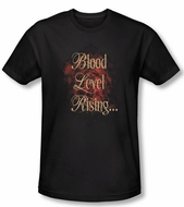 Zombie T-Shirt Blood Level Rising Black Adult Slim Fit Tee Shirt