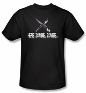 Zombie T-Shirt Here Zombie Zombie Adult Black Tee Shirt