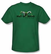 Zombie T-Shirt Must Eat Brains Adult Kelly Green Tee Shirt