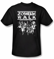 Zombie T-Shirt Walk Adult Black Tee Shirt