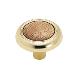 "1-1/4"" Amerock Knob Bright Brass With Oak Center AM-BP76244-O3"