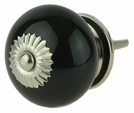 Black Ceramic Knob w/ Nickel Backplate - 1 1/2""