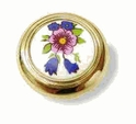 "Bright Brass 1-1/4"" Diam. Knob White Ceramic & Flowers AM-244FWP"