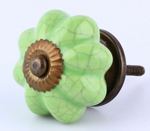 Cracked Green Ceramic Knob w/ Antique Brass - 1 3/4""
