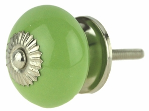 Light Green Ceramic Knob w/ Nickel Backplate - 1 1/2""
