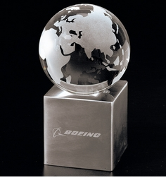 "3-1/8"" Crystal Globe Award on Large Base"
