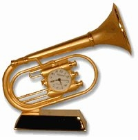 Brass Music Theme Mini Clocks  ON SALE! - Tuba, Saxaphone & Guitar